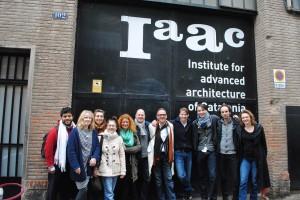 Deel van de groep bij IAAC Francisco, Caroline, Elies, Ana, Babara, Michiel, Leo, Sander B., Wouter, Sander H, Indira -klein