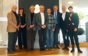 vlnr. Leo Wagemans , Cilly Jansen, Jan Brouwer (voorzitter jury), Hans van Heeswijk, Bram Talman, Peter Kuenzli (voorzitter technische commissie), Paul Achterberg en Evelyn Jansen