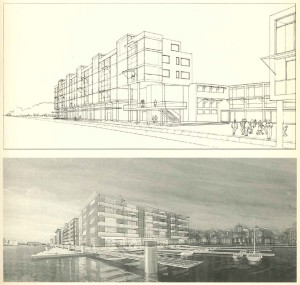 Europan inzendingen voor de lokatie Zaanwerf; boven: MacCreanor en Lavington, onder: Gautier en Concko. Bron: Margreet Horselenberg, Britse architecten bouwen in Zaanstad, Architectuur Lokaal #1 (1993), p. 3-4.